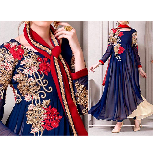 Embroidered Chiffon Frock