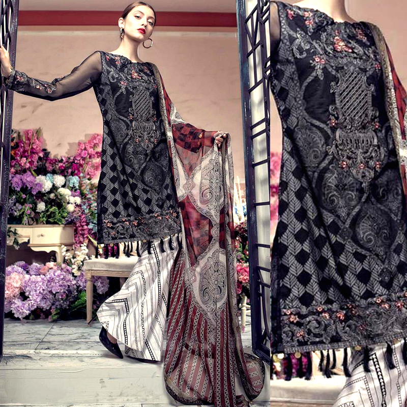 Black Lawn Suit & Chiffon Dupatta With Printed Embroidery Sleeves (DM AAY 623 A) 0