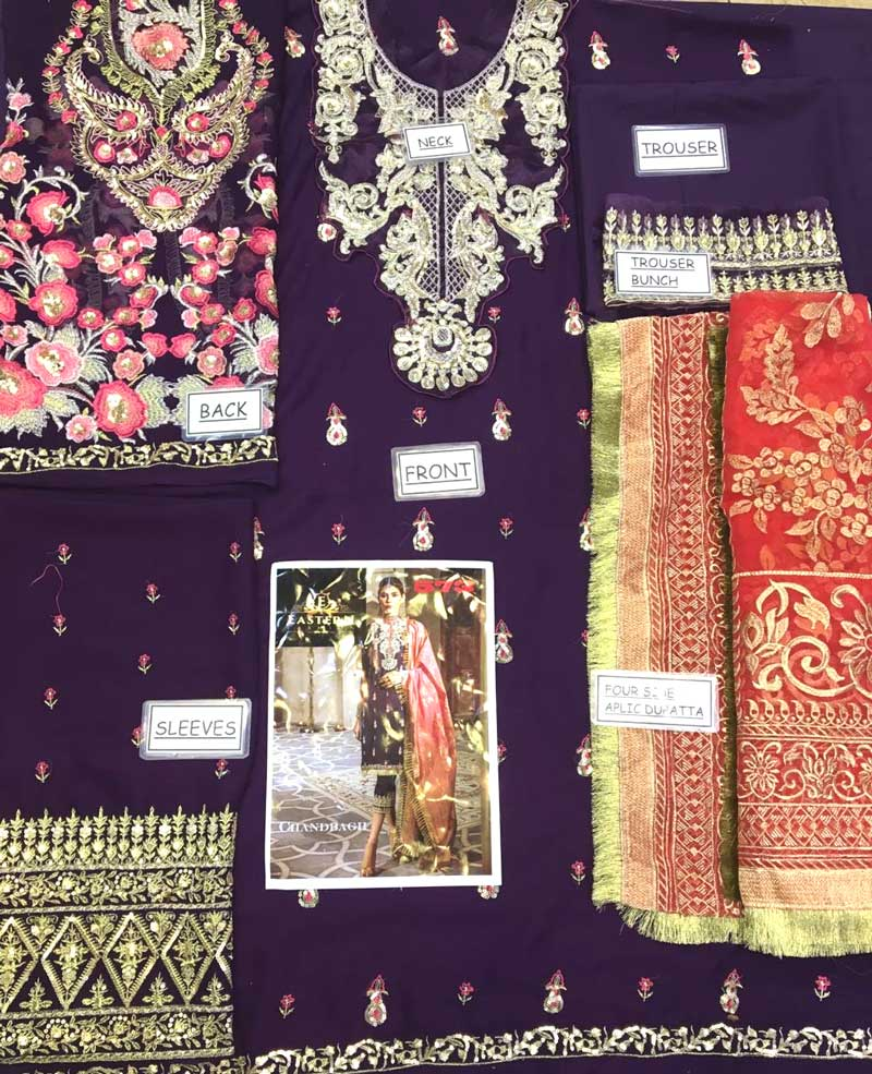 Chiffon Embroidered Suit With Chiffon Dupatta Full Embroidery (DM AN 573) 0