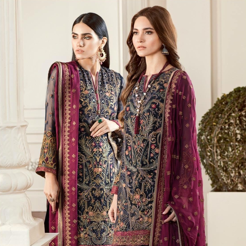 Embroidered Chiffon Dress With Embroidered Trouser (DM Bar 590) 0