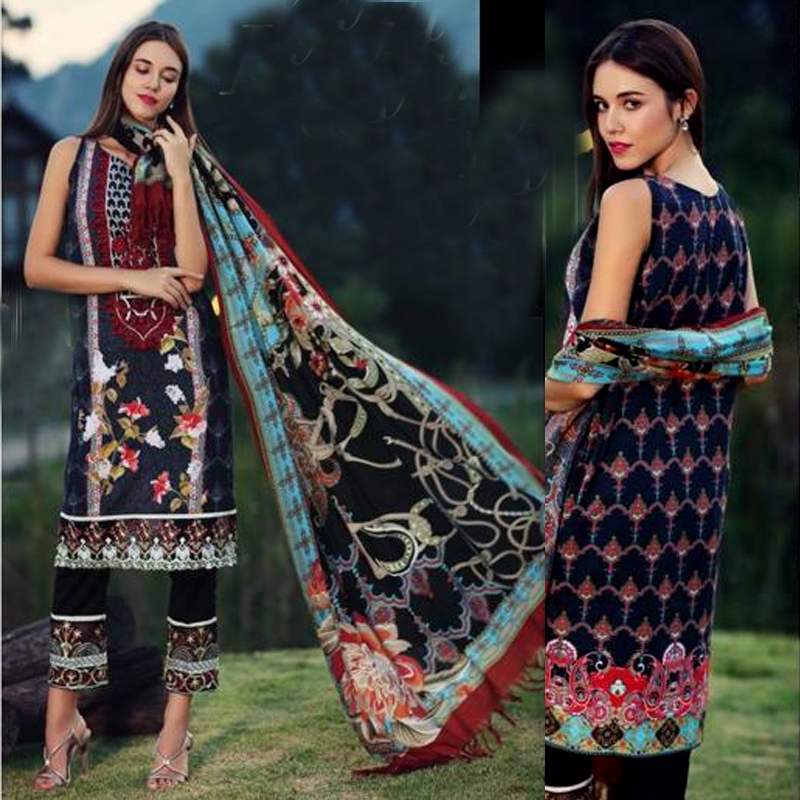 Embroidered Lawn Suit With Lawn Dupatta (DM NF 594) 0