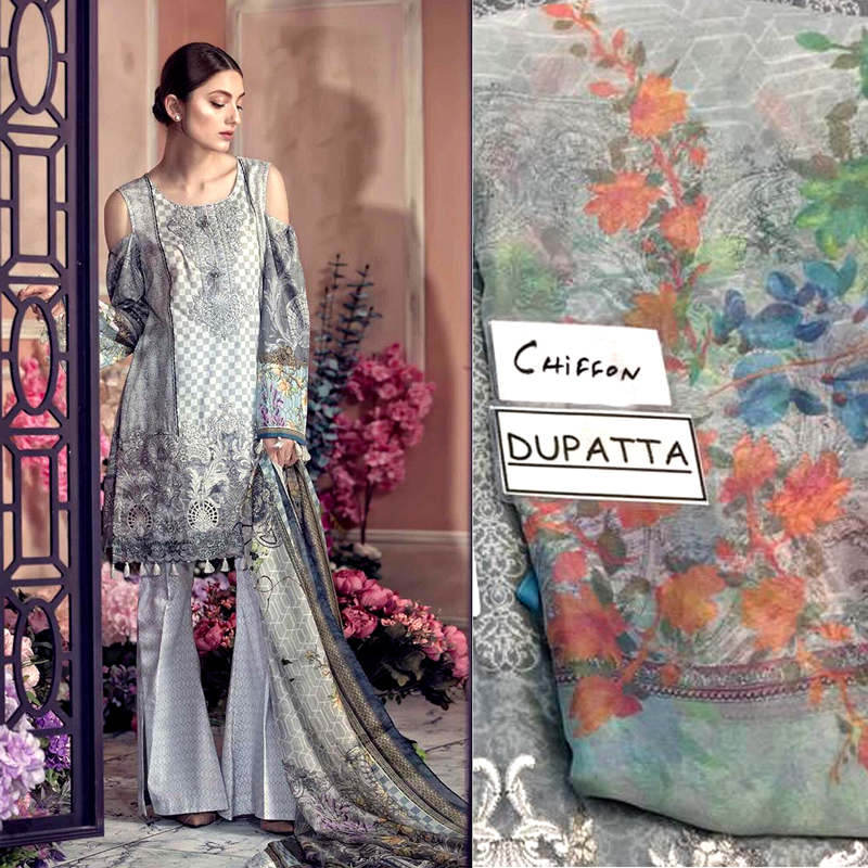 Front Back Printed Lawn Daman Lace Embroidery & Cutwork (DM AAY 622 A) 0