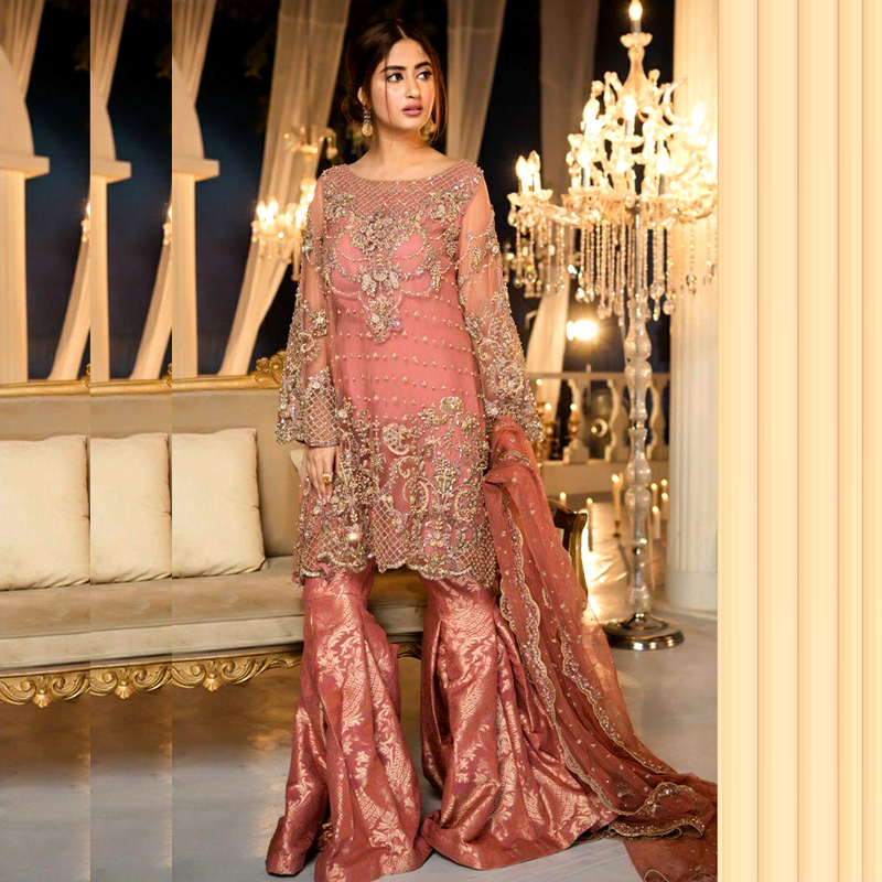 Full Chiffon Heavy Embroidered With Banarsi Trouser (DM MB 330) 0