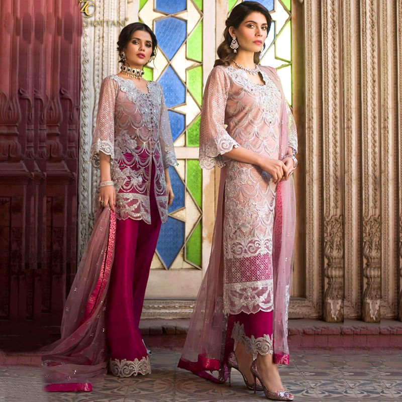 Full Heavy Embroidered Net Dress For Party (DM ZC 601) 0