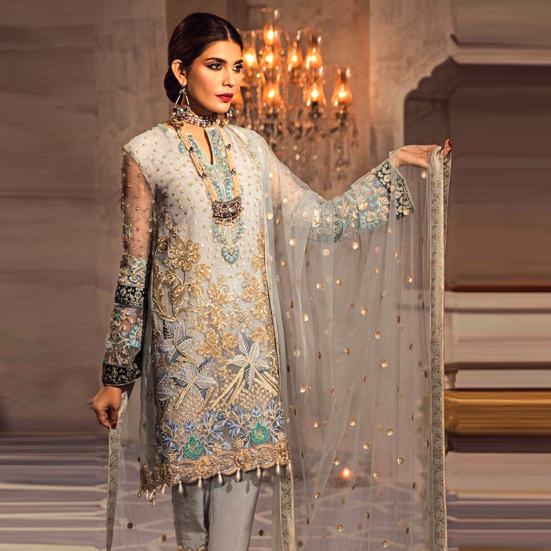 Full Heavy Embroidered Party Net Dress (DM AN 570) 0