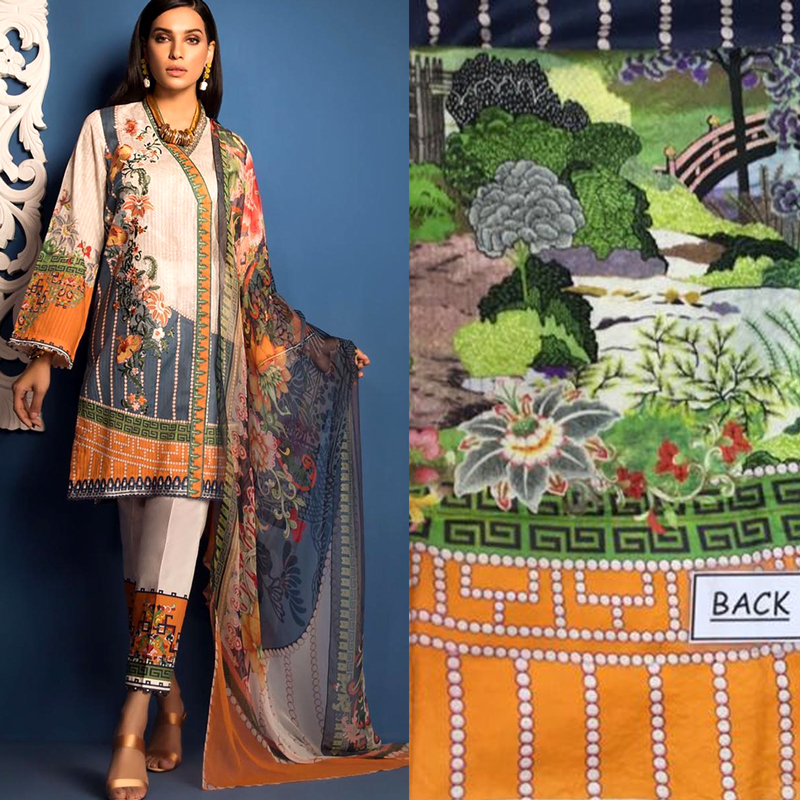 Lawn Front Printed With Front Bunch Embroidered (DM SL 616) 0