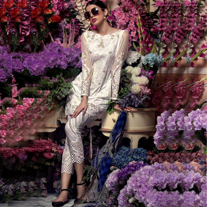 Lawn Suit & Chiffon Dupatta With Printed Embroidery Sleeves (DM AAY 623 B) 0