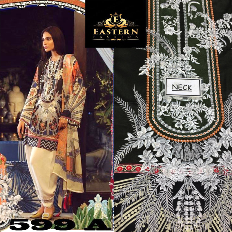 Lawn Suit Embroidered With Lawn Dupatta (DM SS 599 A) 0