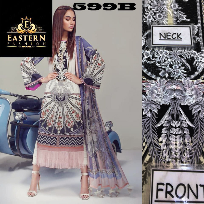Lawn Suit Embroidered With Lawn Dupatta (DM SS 599 B) 0