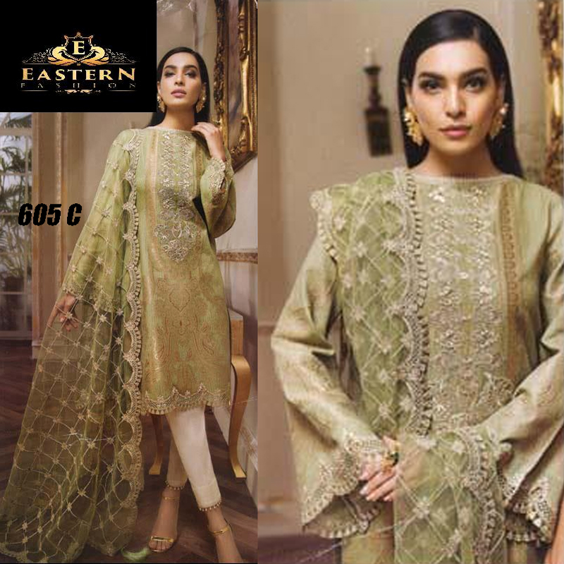 Lawn Suit With Chiffon Dupatta & Embroidery Work (DM AN 605) 0