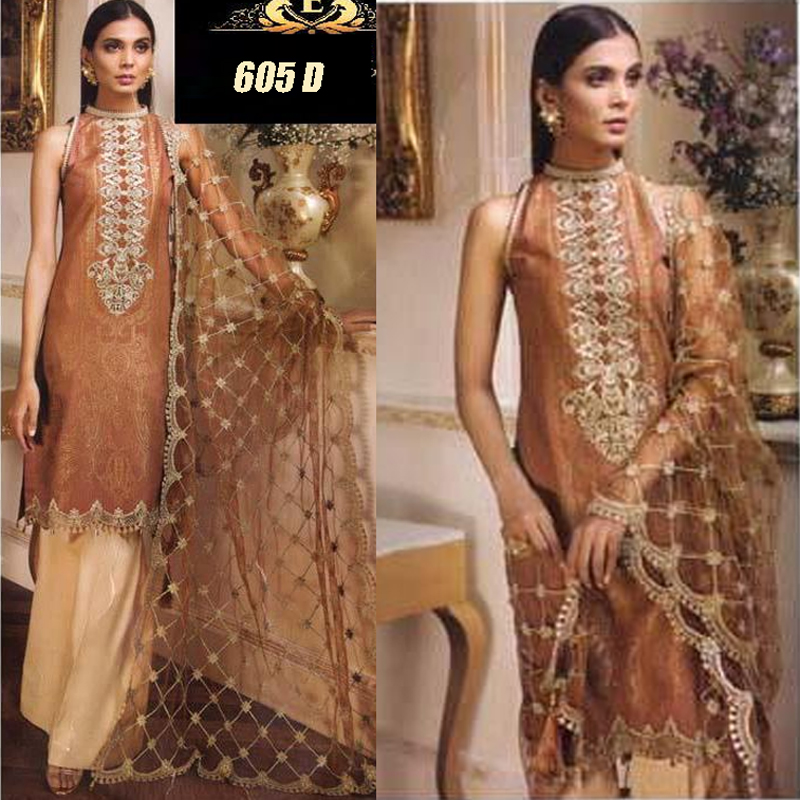 Lawn Suit With Chiffon Dupatta & Embroidery Work (DM AN 605 D) 0
