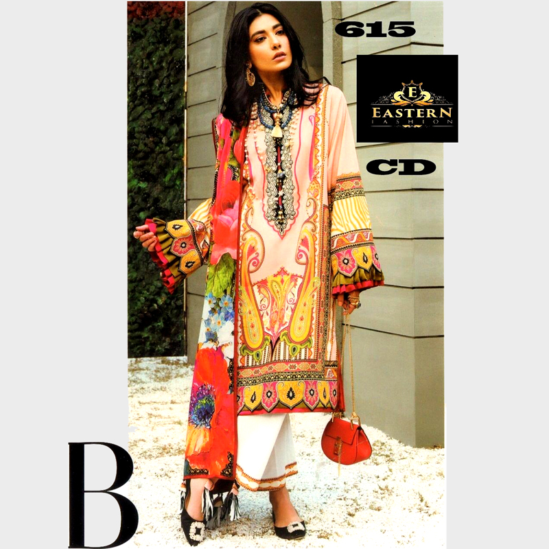 Lawn With Printed Chiffon Dupatta Front Neck Embroidery On Organza (DM ZL 615) 0
