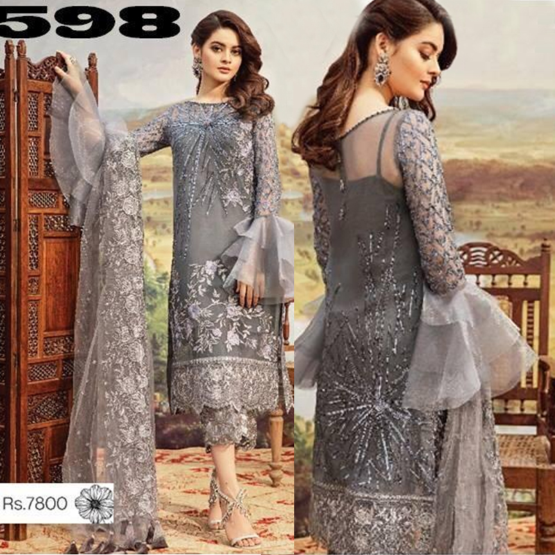 Net Dress Front Back & Sleeves Heavy Embroidery (DM Imrz 598) 0