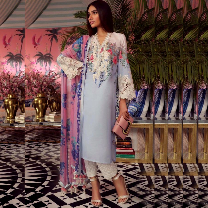 Printed Embroidery Lawn Suit With Lawn Dupatta (DM SS 600 A) 0