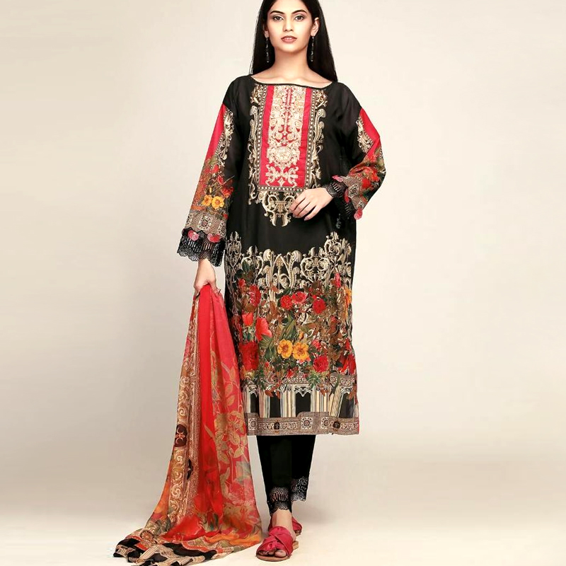 Printed Lawn Suit With Chiffon Printed Duppata & Lawn Trouser (DM KH 607) 4