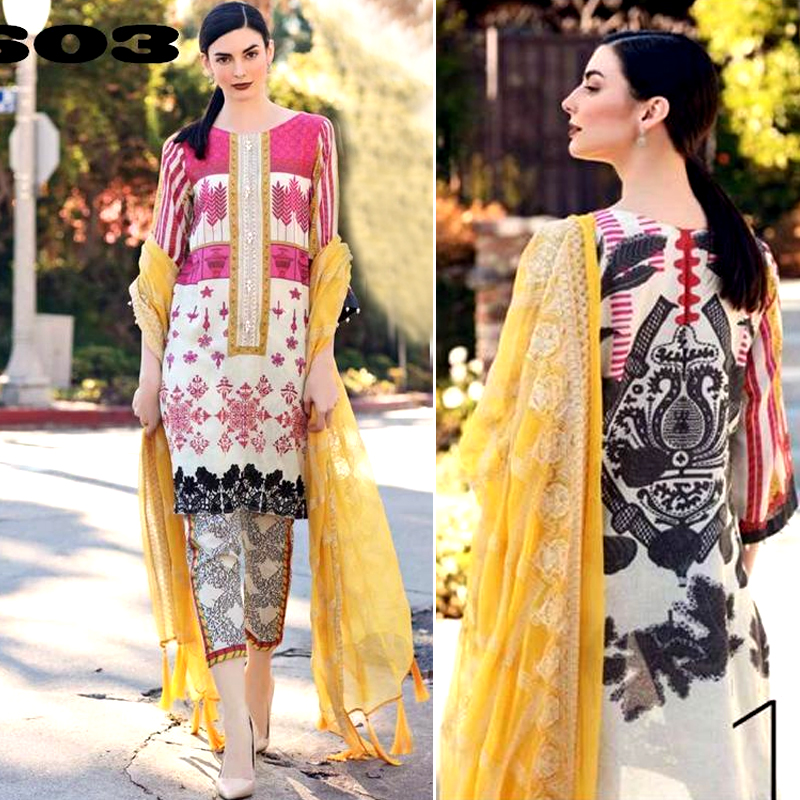 Printed Lawn Suit With Printed Chiffon Dupatta & Trouser (DM Char 603) 0