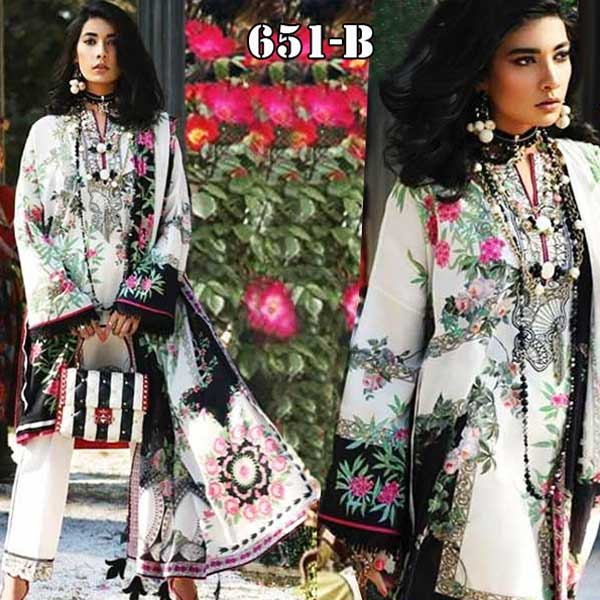 4 Suits Pack Of Embroidery Lawn Suits 2019 Design 651 B