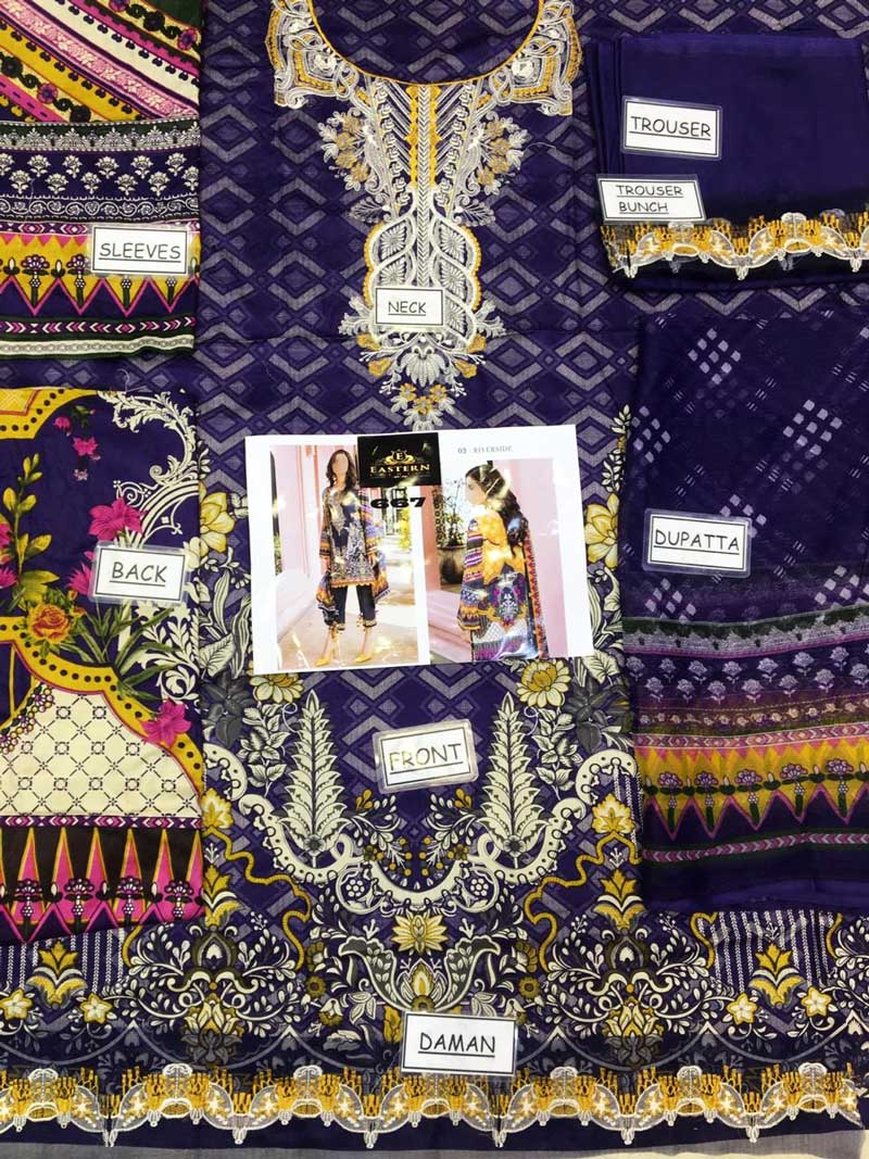 Embroidered Lawn Suit With Chiffon Dupatta & Lawn Trouser (DM BAR 667) 0
