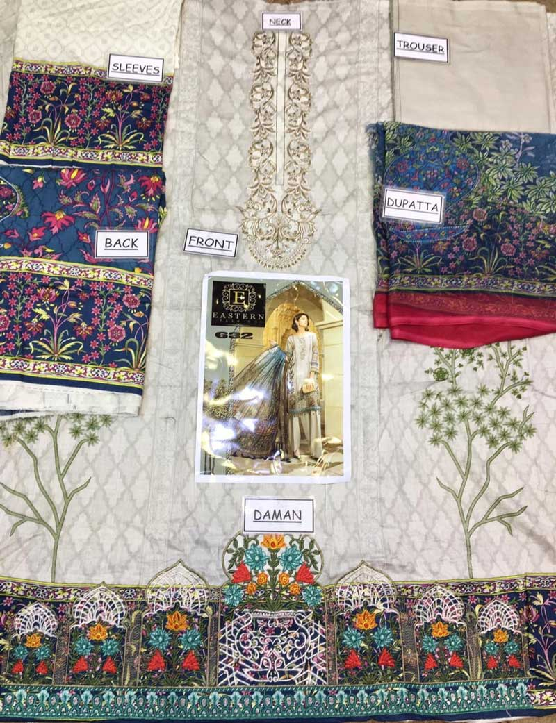 Embroidered Lawn Suit With Printed Chiffon Dupatta (DM MB 632 B) 0