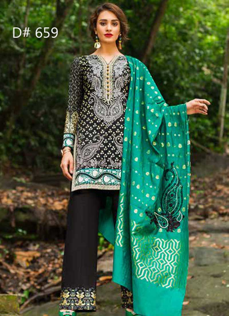 Embroidery Lawn Suit With Chiffon Dupatta Sleeves & Daman Laces (DM ZC 659) 0