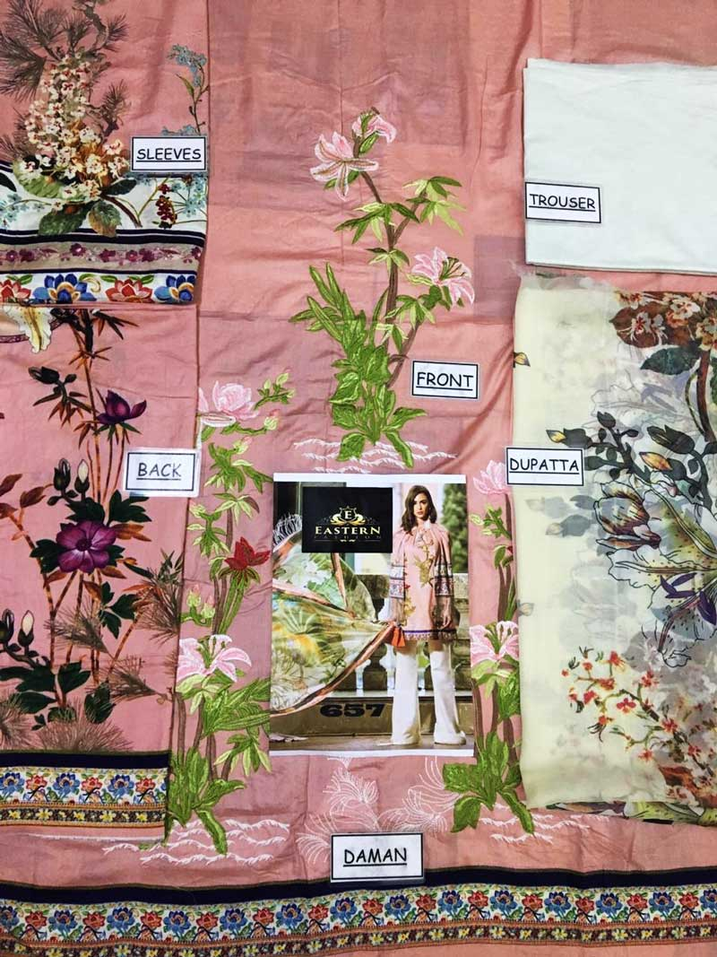Embroidery Printed Lawn With Printed Chiffon Dupatta & Lawn Trouser (DM SS 657 A) 0