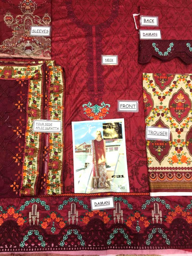Lawn Suit With Net Dupatta & Printed Cambric Trouser (DM MB 631 B) 0