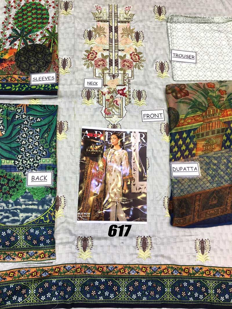 Lawn With Chiffon Dupatta Front Full Printed & Printed Trouser (DM SL 617) 0