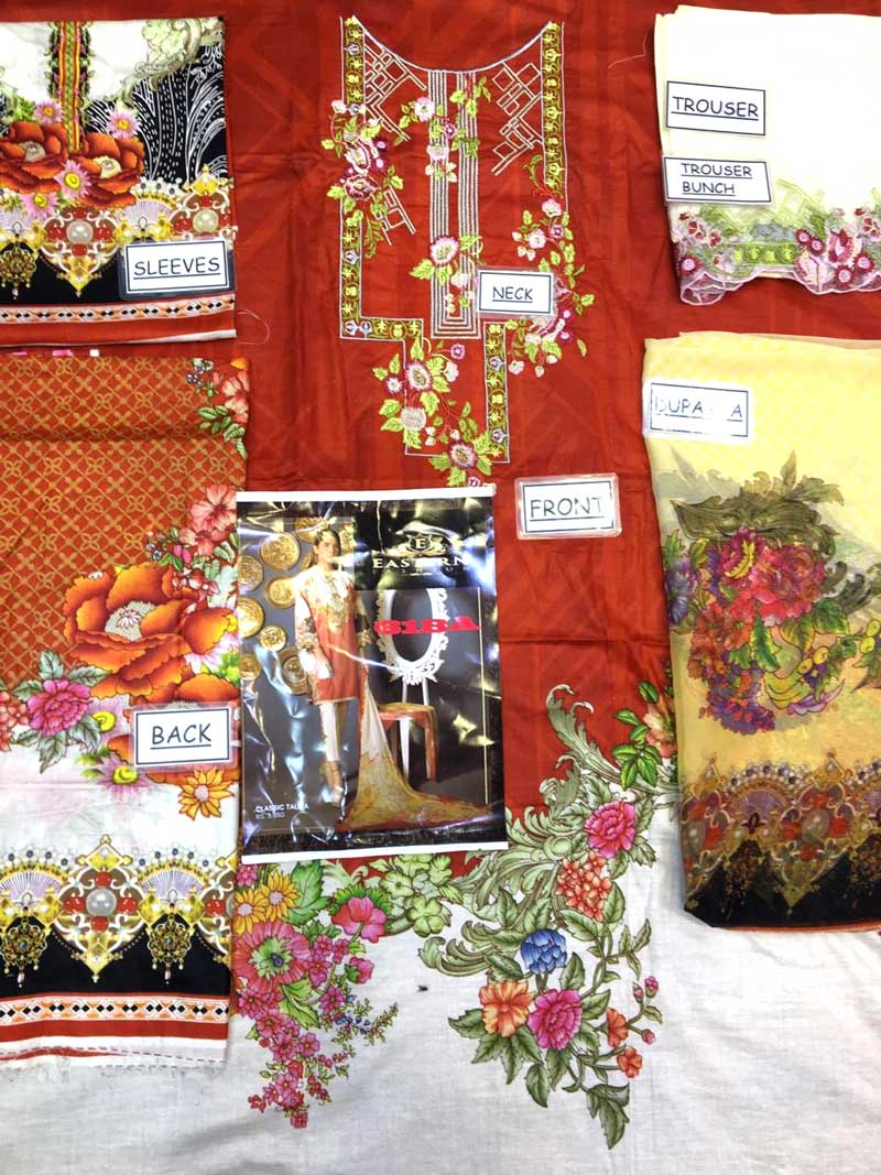Lawn With Chiffon Dupatta & Trouser Lace Embroidery (DM SL 618 A) 0