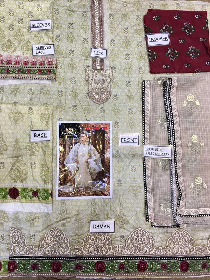 Luxury Embroidered Lawn Suit With Pure Organza Dupatta & Lawn Trouser (DM MB 656 B) 0