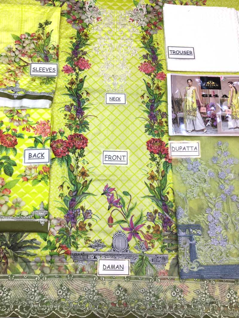 Luxury Lawn Printed Embroidery With Net Dupatta (DM AAY 614 A) 0