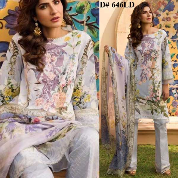 Special Deal Of 3 Embroidery Lawn Suits 2019 Design 646LD