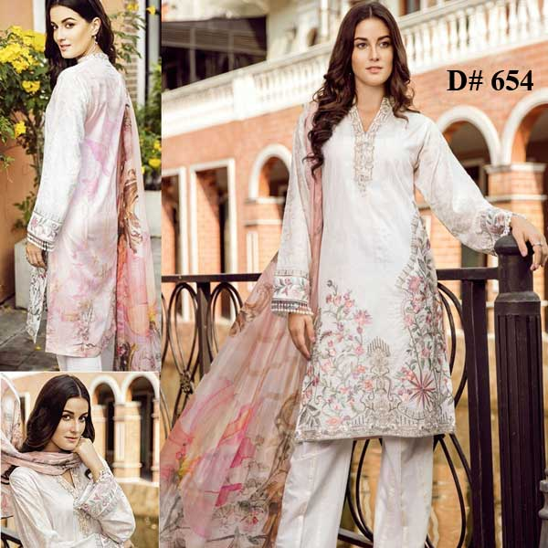 Special Deal Of 3 Embroidery Lawn Suits 2019 Design 654