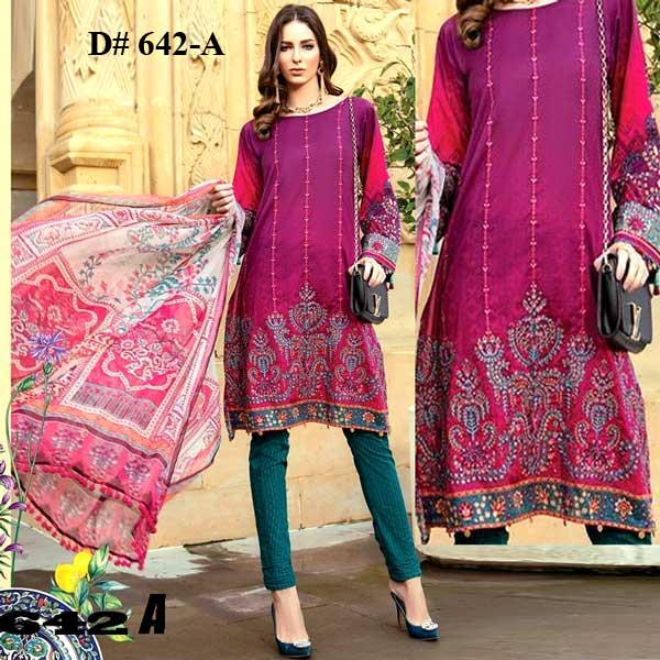 Special Summer Deal Of 4 Embroidery Lawn Suits 2019 Design 642A