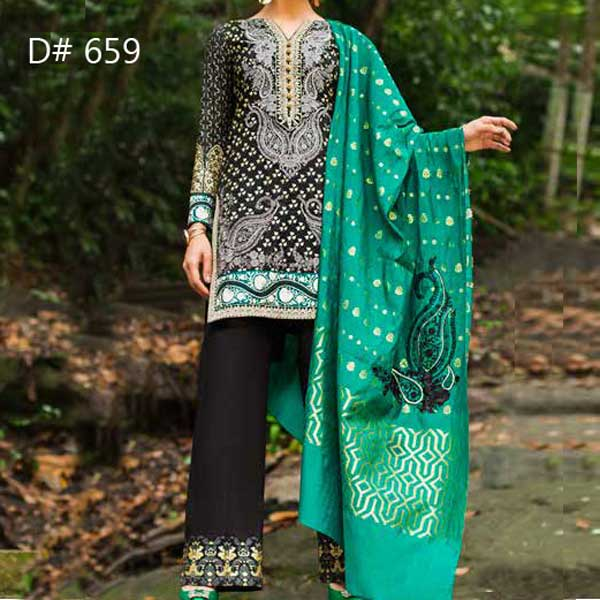 Super Deal Pack Of 3 Embroidery Lawn Suits 2019 (Design 659