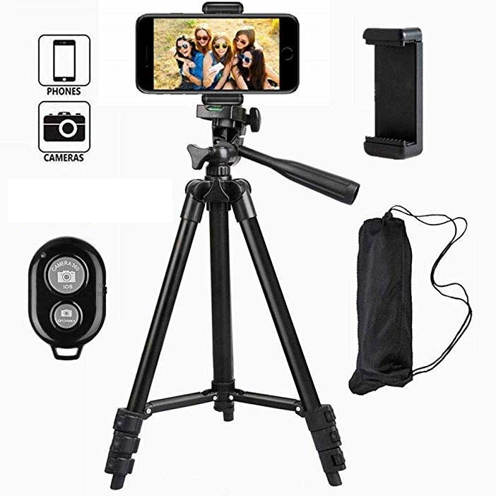 4 Step Folding Tripod For DSLR Camera With Mobile Holder And Remote Control