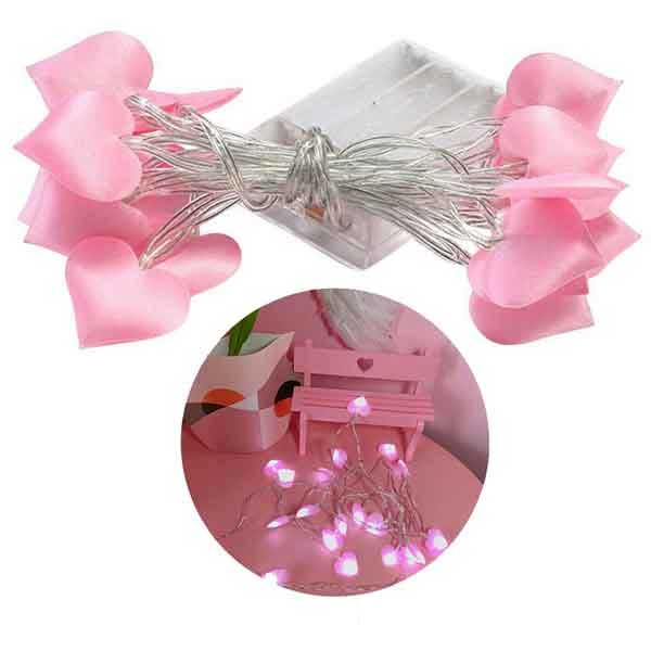 Pink Hearts Fairy Light 20 Hearts In String 3 Meters Length 2
